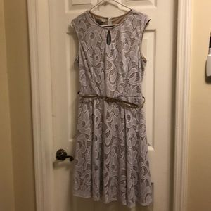 Romantic summer dress- white/ivory with gold belt